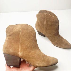 Splendid Paige Brown Suede Western Ankle Boot Heel